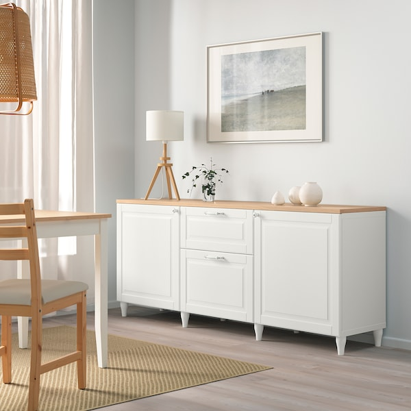 BESTÅ Storage combination with drawers, white/Smeviken/Kabbarp white, 180x42x76 cm