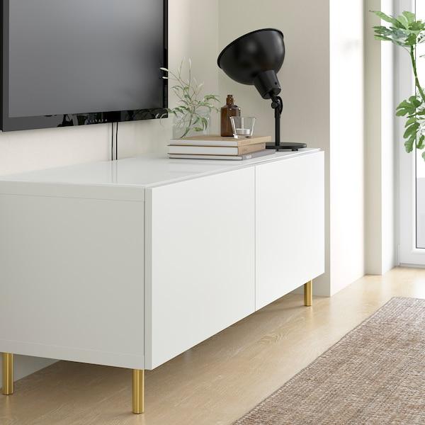 BESTÅ Top panel for TV, glass white, 120x40 cm