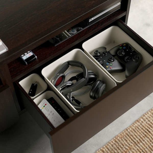 BESTÅ TV bench, black-brown/Selsviken high-gloss/black, 180x42x39 cm