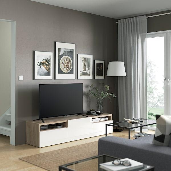BESTÅ TV bench, grey stained walnut effect/Selsviken high-gloss/white, 180x42x39 cm
