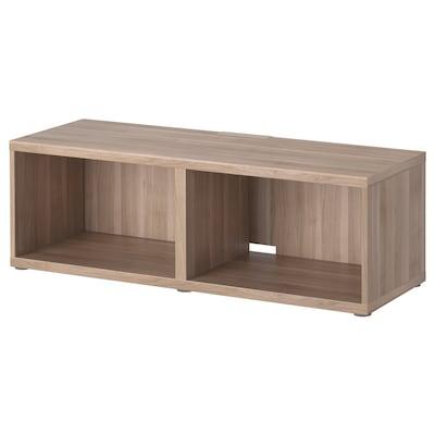 BESTÅ طاولة تلفزيون, مظهر الجوز مصبوغ رمادي, 120x40x38 سم