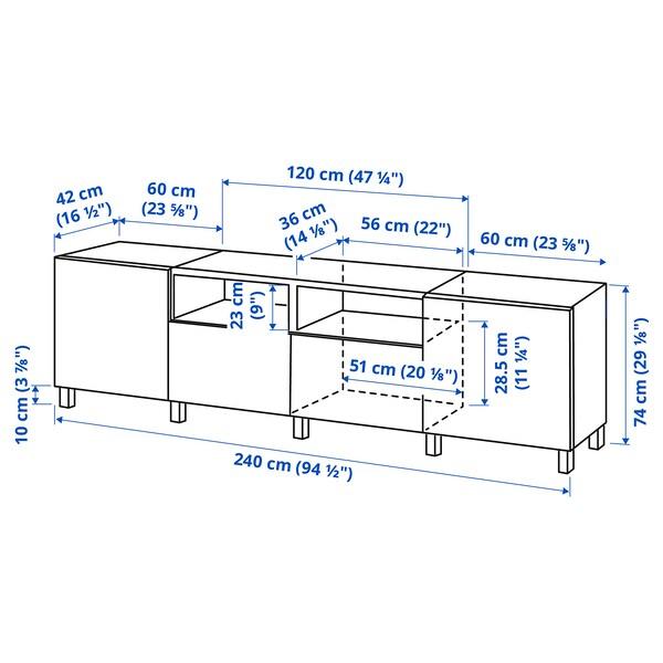 BESTÅ TV bench with doors and drawers, black-brown/Lappviken/Stubbarp black-brown, 240x42x74 cm