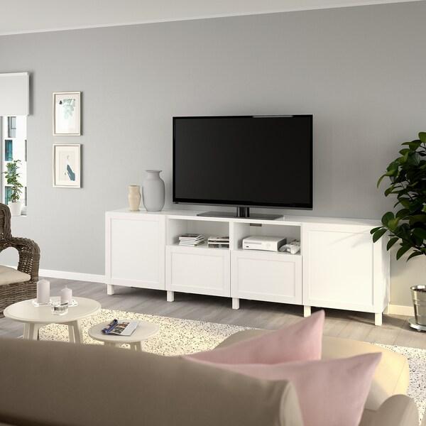 BESTÅ طاولة تلفزيون مع أبواب وأدراج, أبيض/Hanviken/Stubbarp أبيض, 240x42x74 سم