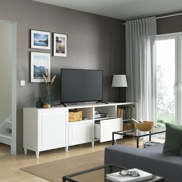 BESTÅ TV bench with doors and drawers, white/Smeviken/Kabbarp white, 240x42x74 cm