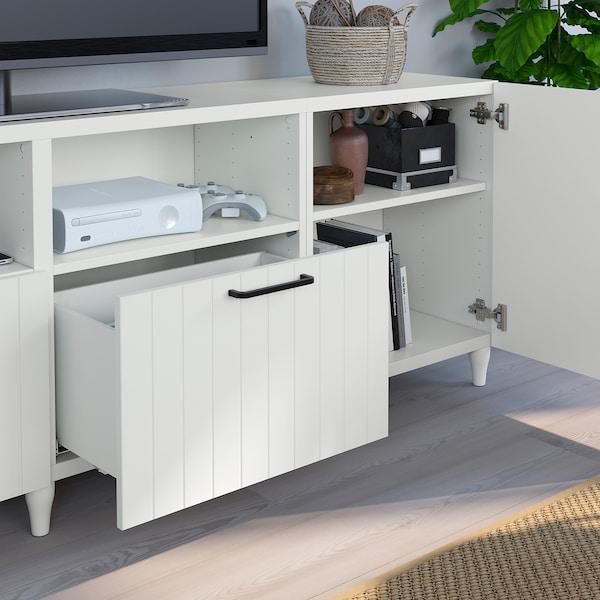 BESTÅ TV bench with doors and drawers, white/Sutterviken/Kabbarp white, 240x42x74 cm