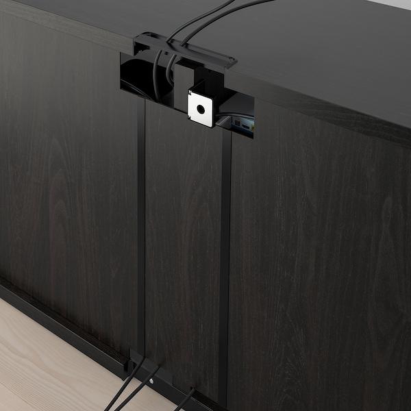 BESTÅ طاولة تلفزيون مع أبواب, أسود-بني/Notviken/Stubbarp رمادي-أخضر, 120x42x74 سم
