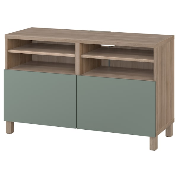 BESTÅ TV bench with doors, grey stained walnut effect/Notviken/Stubbarp grey-green, 120x42x74 cm