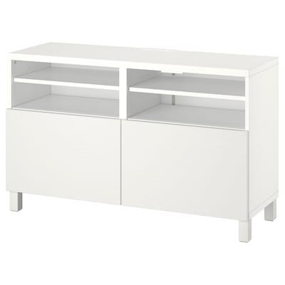 BESTÅ TV bench with doors, white/Laxviken/Stubbarp white, 120x42x74 cm