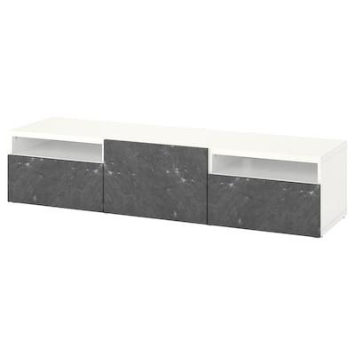 BESTÅ TV bench with drawers and door, white/Bergsviken black, 180x42x39 cm