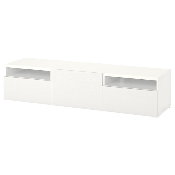 BESTÅ TV bench with drawers and door, white/Laxviken white, 180x42x39 cm