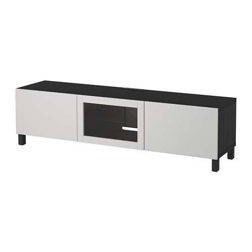 BESTÅ TV bench with drawers and door, black-brown Lappviken, light grey  clear glass