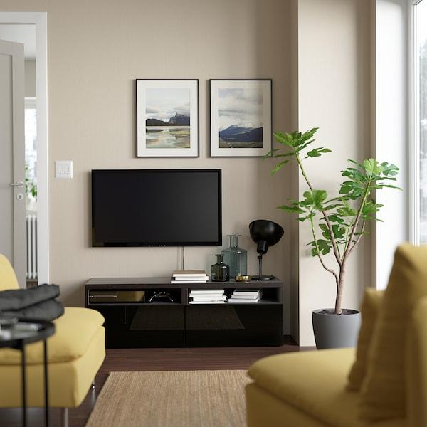 BESTÅ TV bench with drawers, black-brown/Selsviken high-gloss/black, 120x42x39 cm