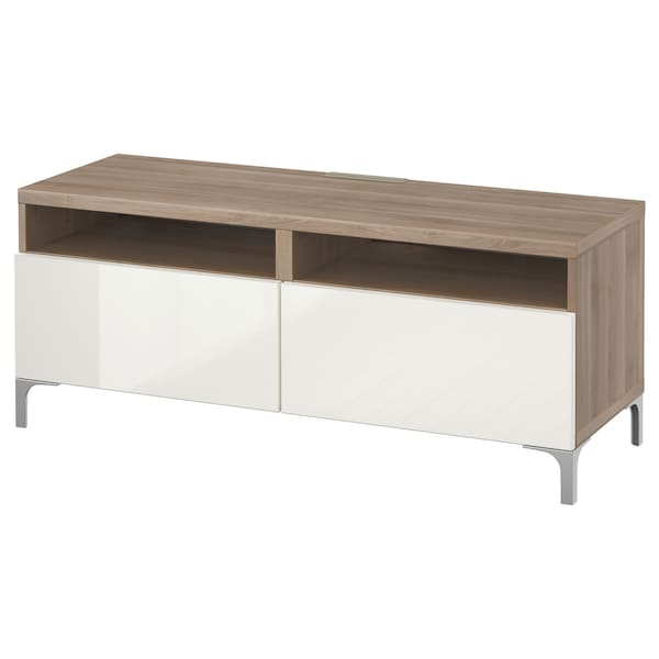 BESTÅ TV bench with drawers, grey stained walnut effect/Selsviken high-gloss/white, 120x42x48 cm
