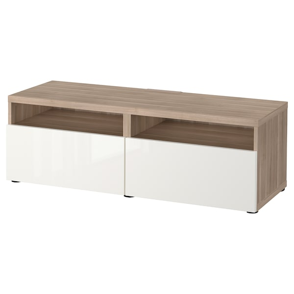 BESTÅ TV bench with drawers, grey stained walnut effect/Selsviken high-gloss/white, 120x42x39 cm