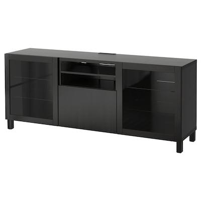 BESTÅ طاولة تلفزيون مع أدراج, Lappviken/Sindvik أسود-بني زجاج شفاف, 180x40x74 سم