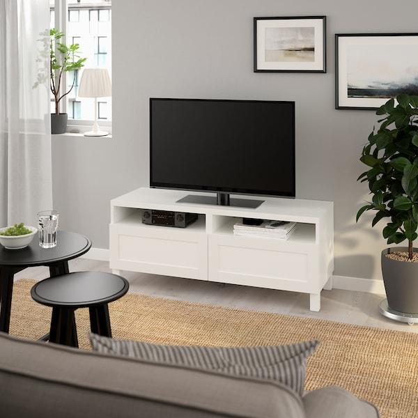 BESTÅ طاولة تلفزيون مع أدراج, أبيض/Hanviken/Stubbarp أبيض, 120x42x48 سم