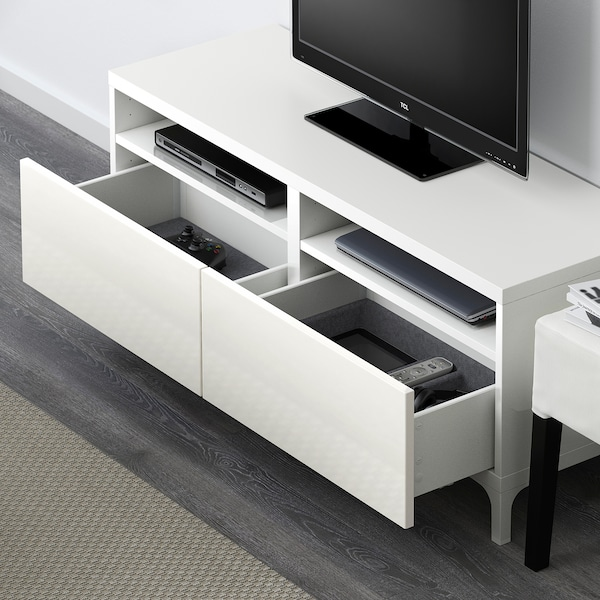 BESTÅ TV bench with drawers, white/Selsviken high-gloss/white, 120x42x48 cm