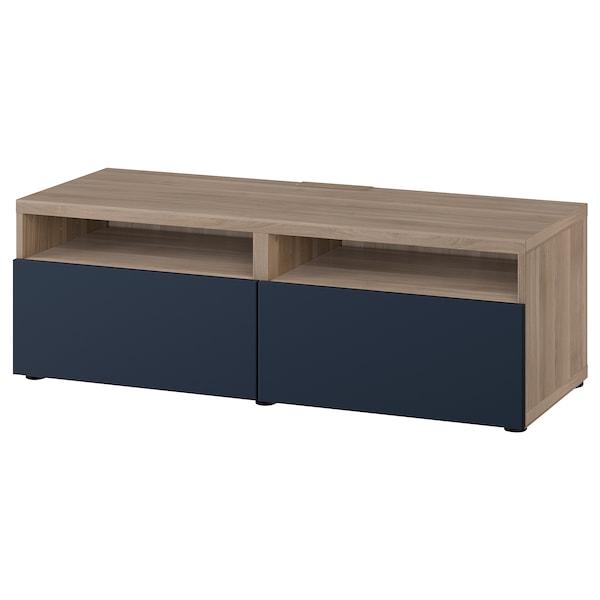 Tv Bench With Drawers Besta Grey Stained Walnut Effect Notviken Blue
