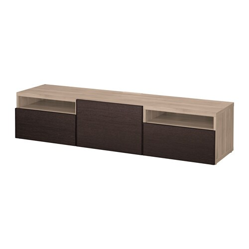 Best Tv Bench Grey Stained Walnut Effect Inviken Black Brown Drawer Runner Soft Closing Ikea