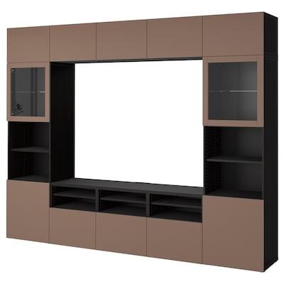 BESTÅ TV storage combination/glass doors, black-brown Sindvik/Lappviken light grey-brown, 300x42x231 cm
