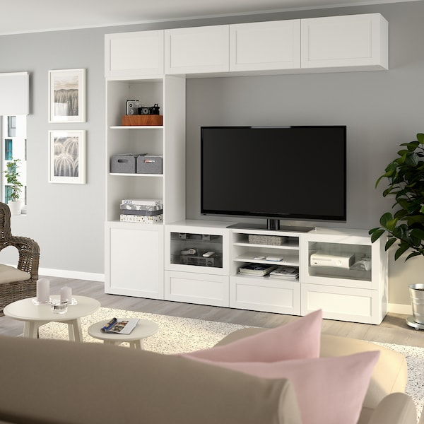 BESTÅ TV storage combination/glass doors, Hanviken/Sindvik white clear glass, 240x40x230 cm
