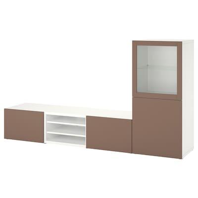 BESTÅ TV storage combination/glass doors, white Sindvik/Lappviken light grey-brown, 240x42x129 cm