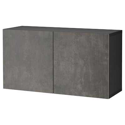 BESTÅ Wall-mounted cabinet combination, black-brown Kallviken/dark grey concrete effect, 120x42x64 cm
