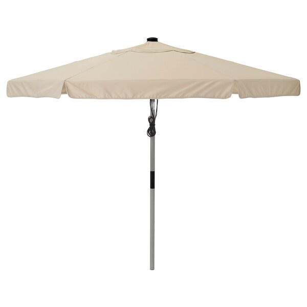 BETSÖ / VÅRHOLMEN مظلة, رمادي مظهر الخشب/بيج, 300 سم