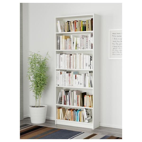 BILLY مكتبة, أبيض, 80x28x202 سم