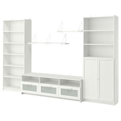 BILLY / BRIMNES TV storage combination, white, 340x41x202 cm