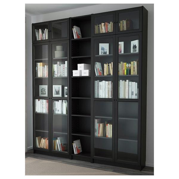 BILLY / OXBERG Bookcase, black-brown, 200x30x237 cm