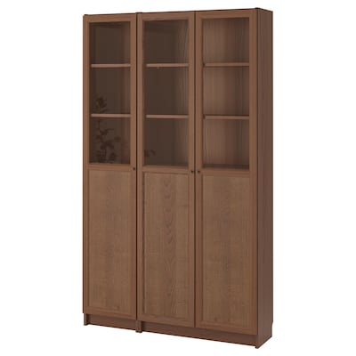 BILLY / OXBERG مكتبة مع أبواب زجاجية/لوحية, بني قشرة خشب الدردار/زجاج, 120x30x202 سم