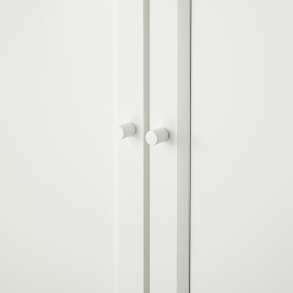 BILLY / OXBERG مكتبة مع أبواب زجاجية/لوحية, أبيض, 160x30x202 سم