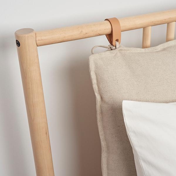 BJÖRKSNÄS Bed frame, birch/Leirsund, 140x200 cm