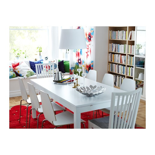 ikea bjursta extendable dining room table white round and chairs