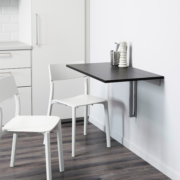 BJURSTA Wall-mounted drop-leaf table, brown-black, 90x50 cm