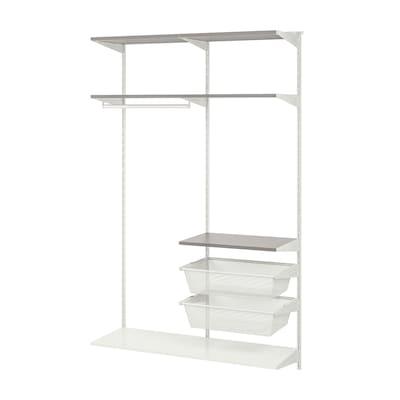 BOAXEL Wardrobe combination, white/grey, 125x40x201 cm