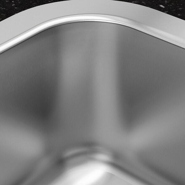 BOHOLMEN مغسلة مدمجة مع حوض واحد, ستينلس ستيل, 47x30 سم