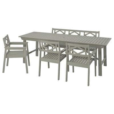 BONDHOLMEN طاولة+3كراسي مع كرسي+مصطبة،خارجية, صباغ رمادي
