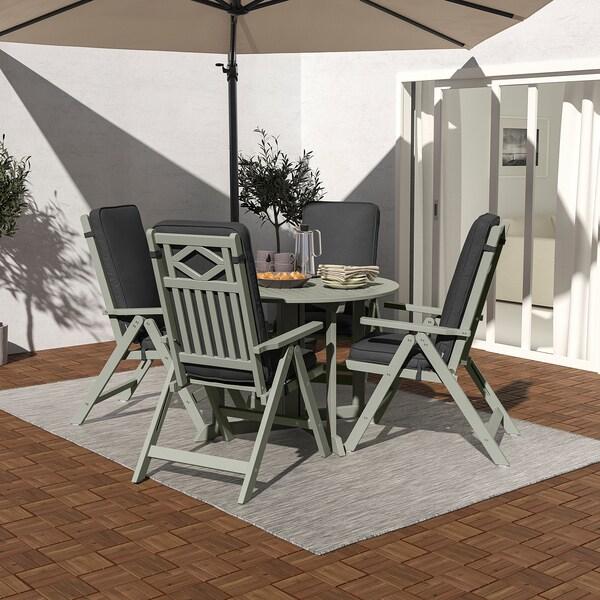 BONDHOLMEN Table+4 reclining chairs, outdoor, grey stained/Järpön/Duvholmen anthracite