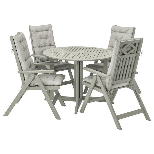 BONDHOLMEN Table+4 reclining chairs, outdoor, grey stained/Kuddarna grey