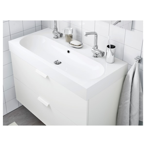 BRÅVIKEN Single wash-basin, white, 100x48x10 cm