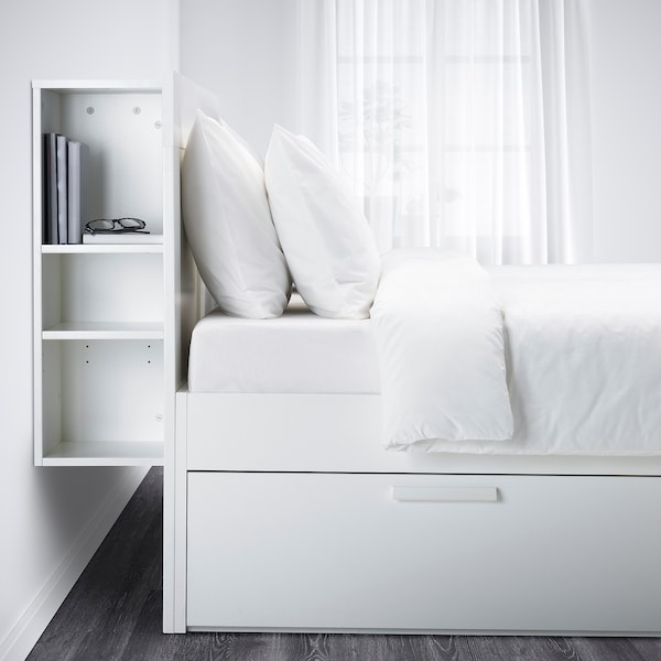 BRIMNES Bed frame w storage and headboard, white/Leirsund, 140x200 cm