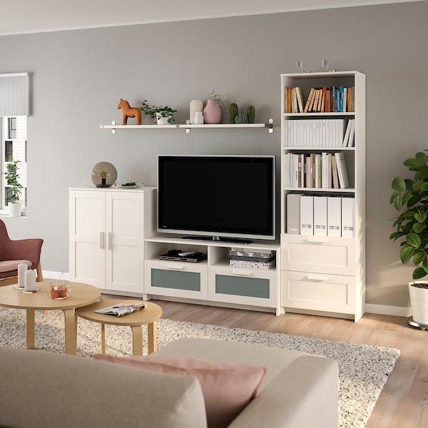 BRIMNES / BERGSHULT TV storage combination, white, 258x41x190 cm
