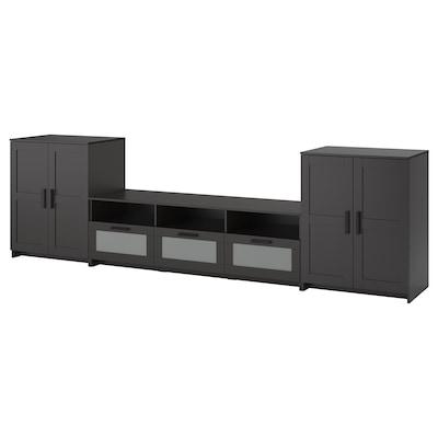 BRIMNES TV storage combination, black, 336x41x95 cm