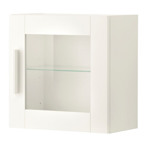 BRIMNES Wall cabinet with glass door, white