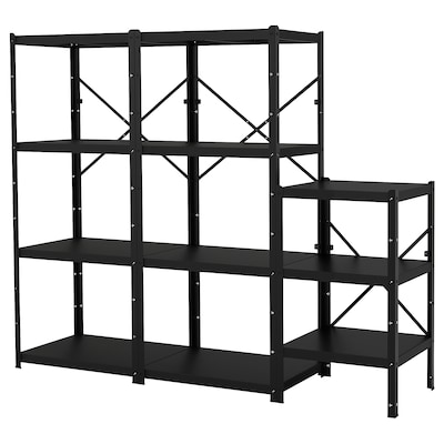 BROR Shelving unit, black, 234x55x190 cm