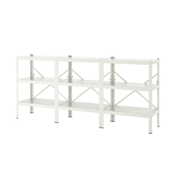 BROR Shelving unit, white, 254x40x110 cm