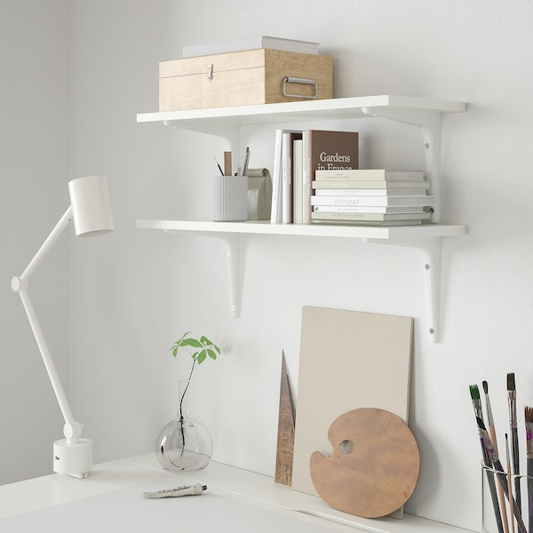 BURHULT / SIBBHULT Wall shelf combination, white/white, 59x20 cm