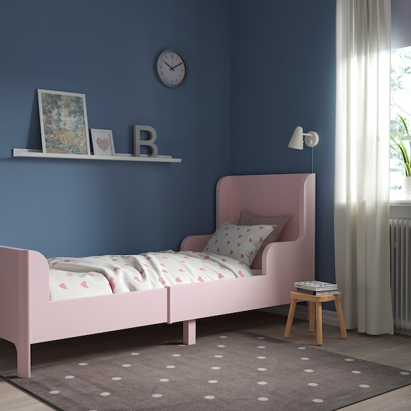 BUSUNGE Extendable bed, light pink, 80x200 cm